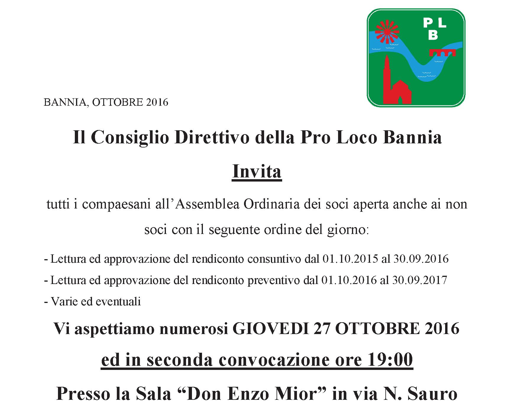 Assemblea Ordinaria Soci – Giovedì 27 ottobre 2016